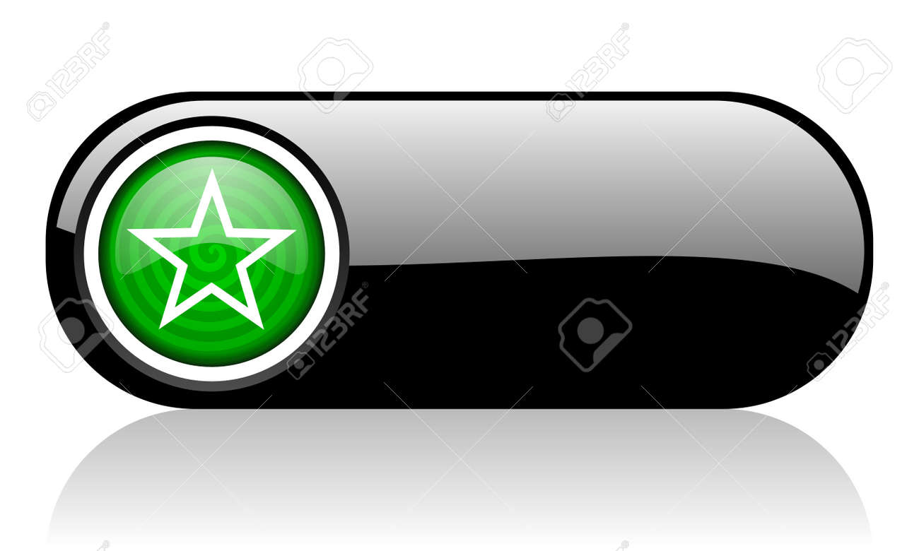 star black and green web icon on white background Stock Photo - 17508320