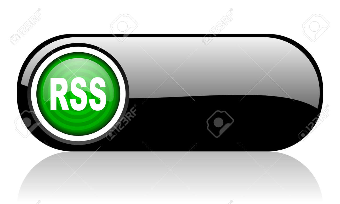 rss black and green web icon on white background Stock Photo - 17507687