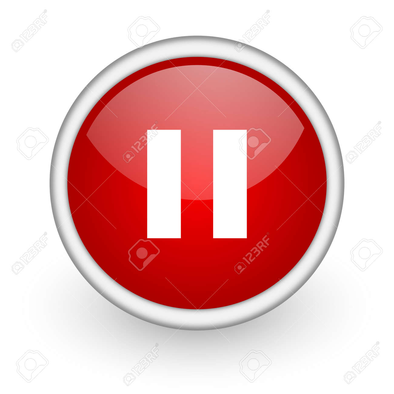 pause red circle web icon on white background Stock Photo - 17518192