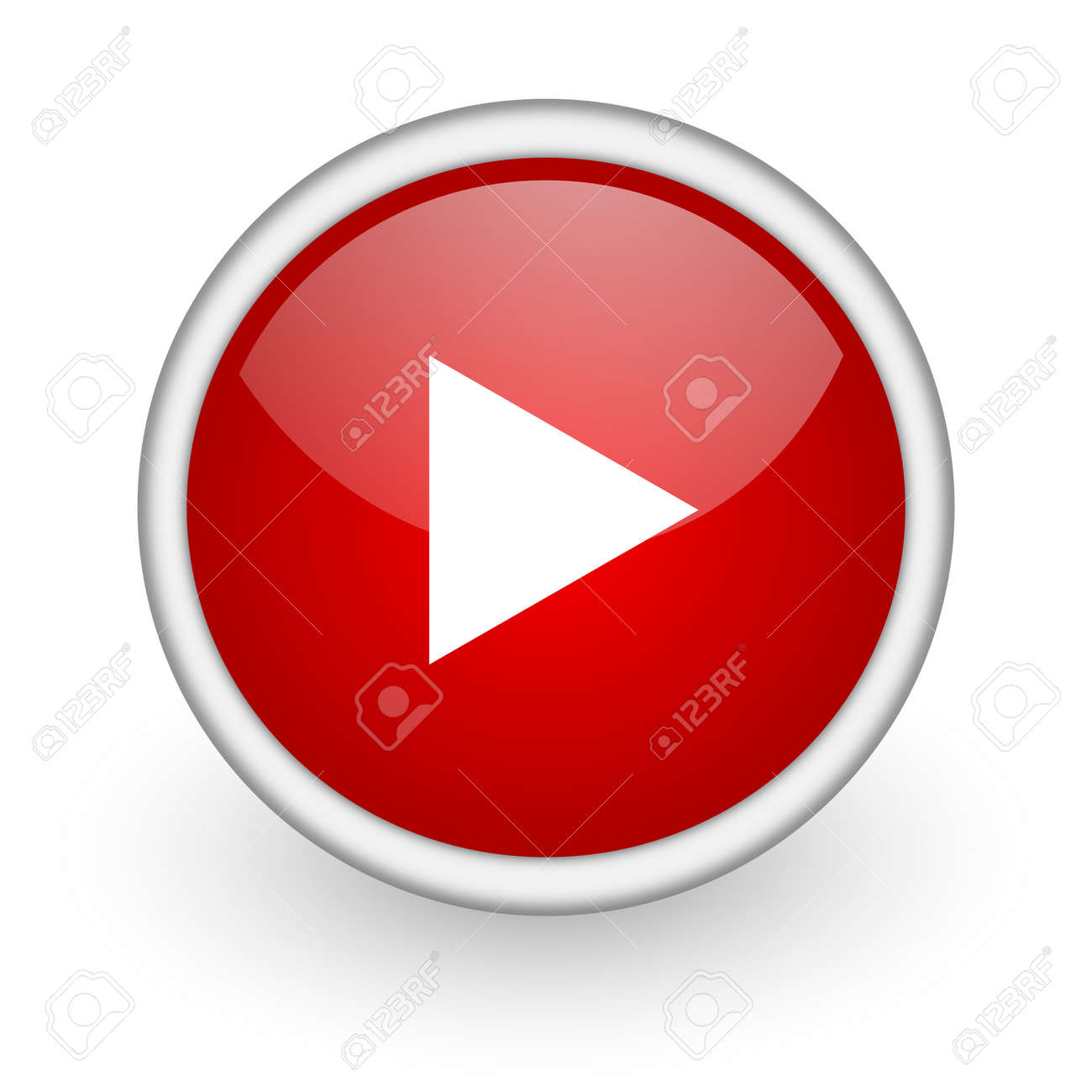 play red circle web icon on white background Stock Photo - 17518184