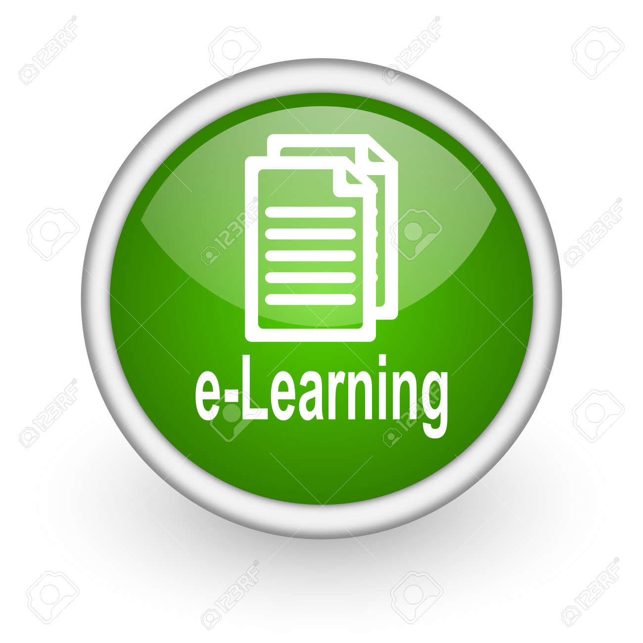 e-learning green circle glossy web icon on white background Stock Photo - 17648072