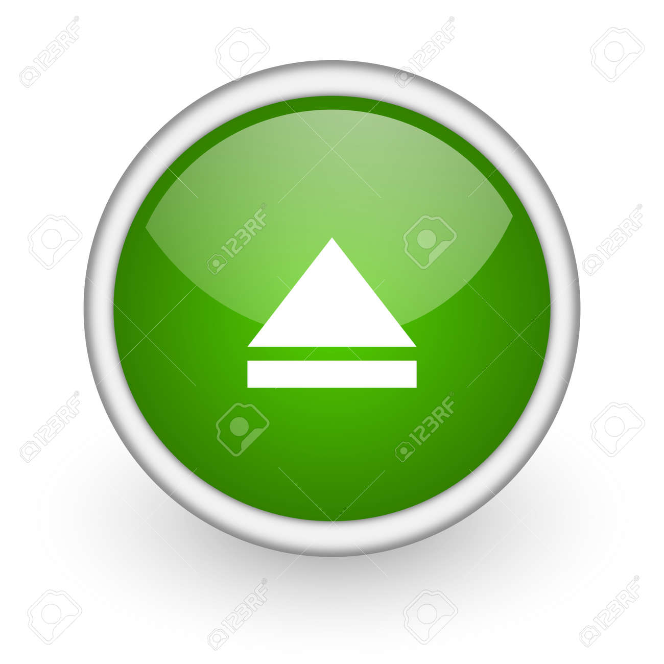eject green circle glossy web icon on white background Stock Photo - 17647515