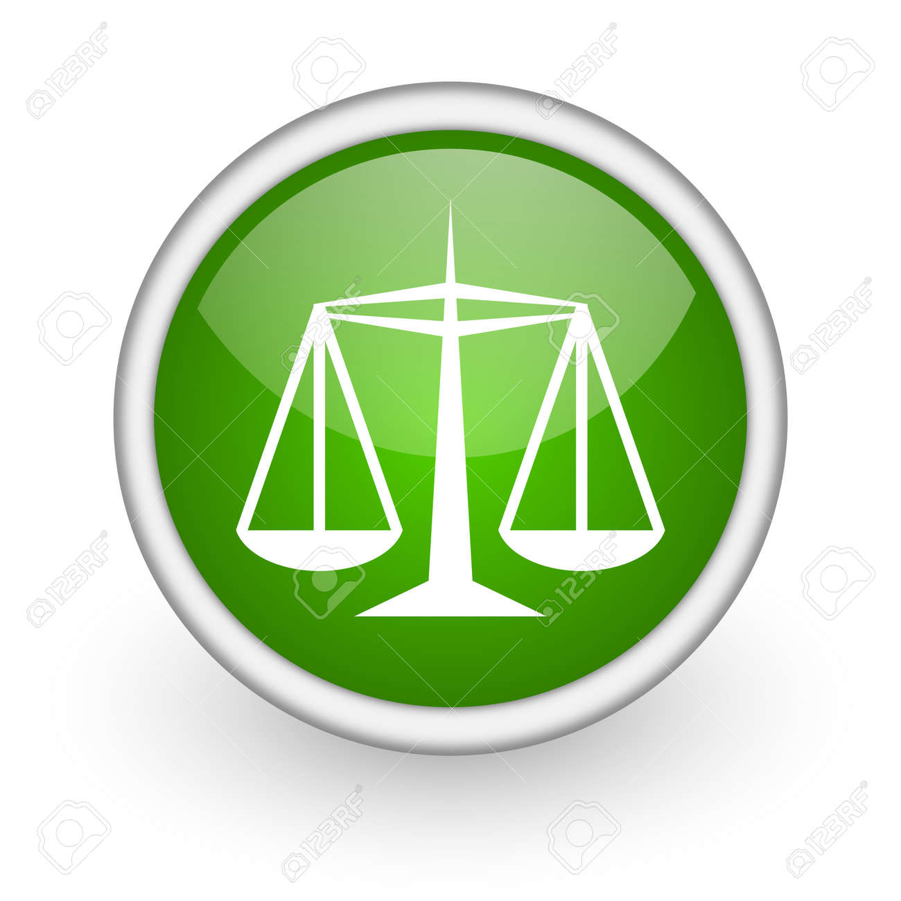 justice green circle glossy web icon on white background Stock Photo - 17648071