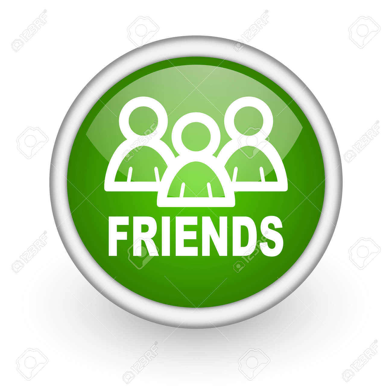friends green circle glossy web icon on white background Stock Photo - 17648105