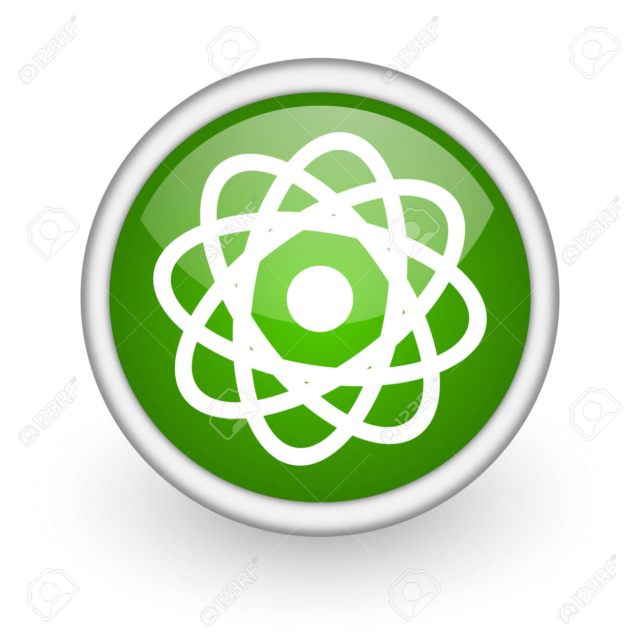 atom green circle glossy web icon on white background Stock Photo - 17648110