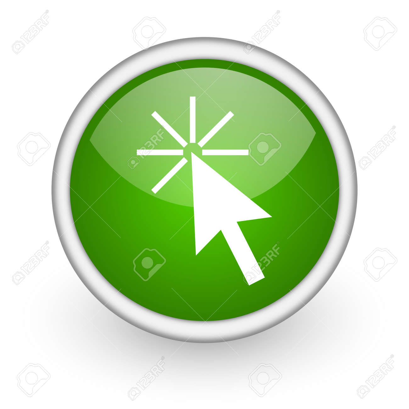 click here green circle glossy web icon on white background Stock Photo - 17647886