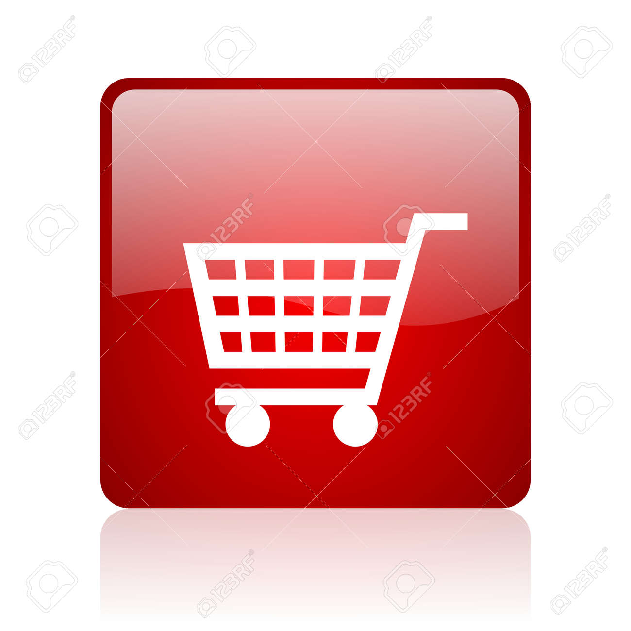 shopping cart red square glossy web icon on white background Stock Photo - 17671697