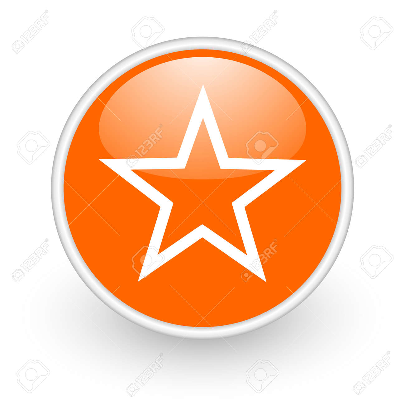 star orange circle glossy web icon on white background Stock Photo - 17761286