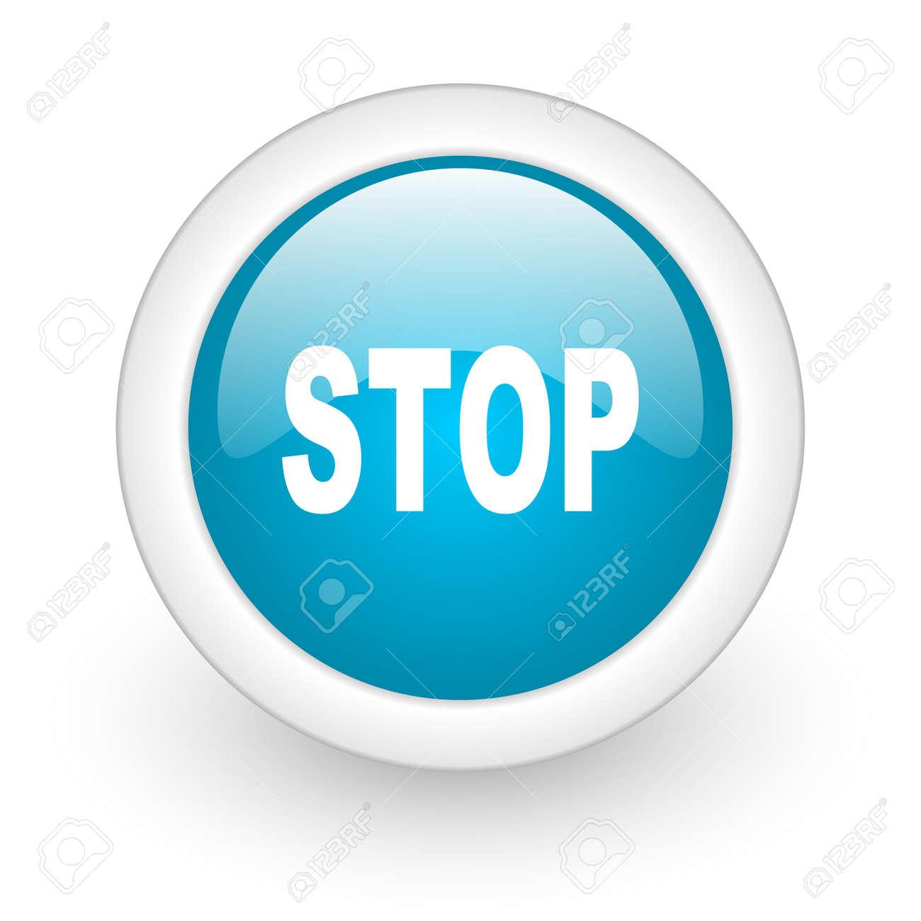 stop blue circle glossy web icon on white background Stock Photo - 17770408