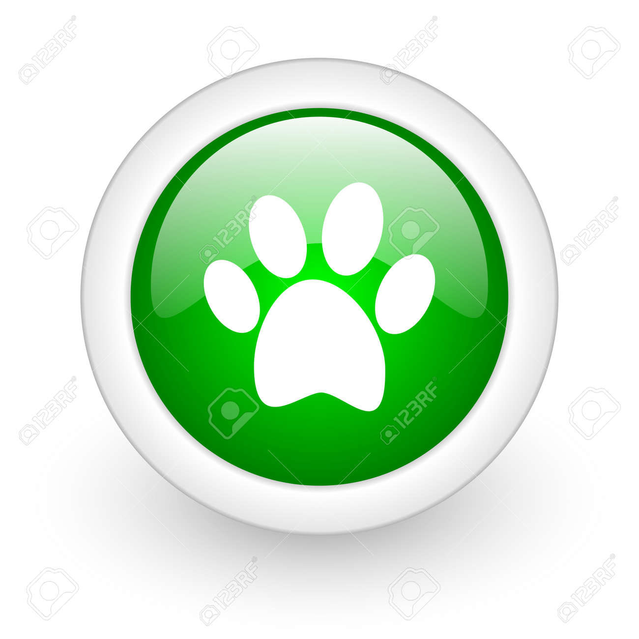animal footprint green circle glossy web icon on white background Stock Photo - 17864809