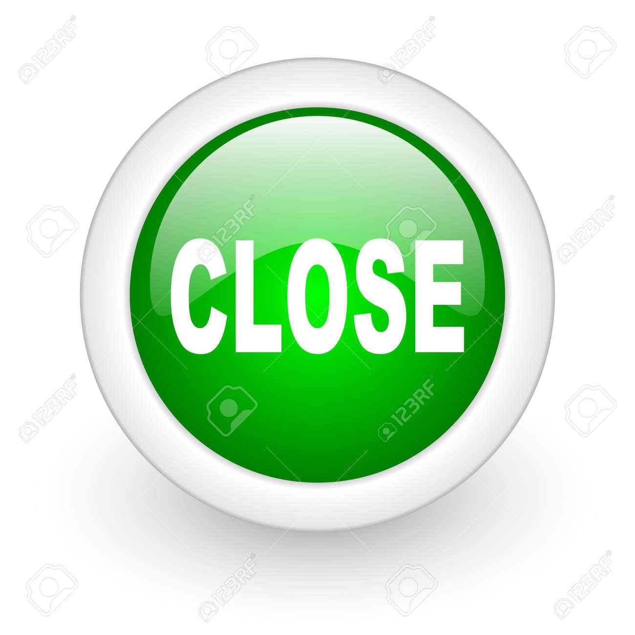 close green circle glossy web icon on white background Stock Photo - 17865141