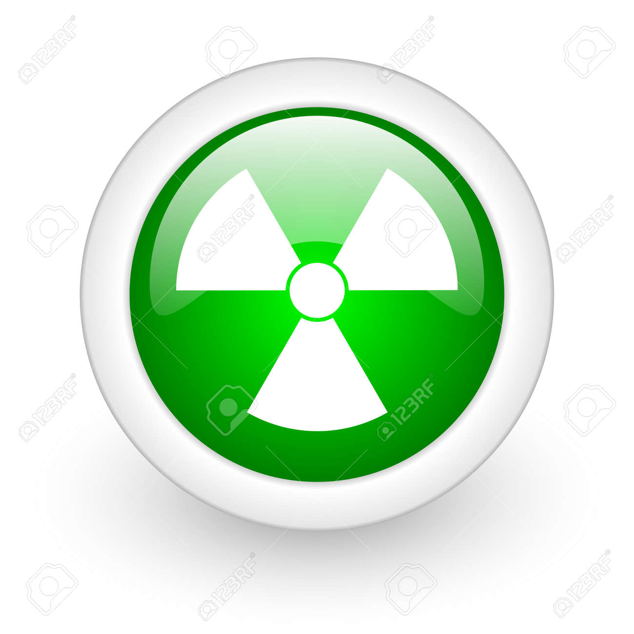 radiation green circle glossy web icon on white background Stock Photo - 17864693