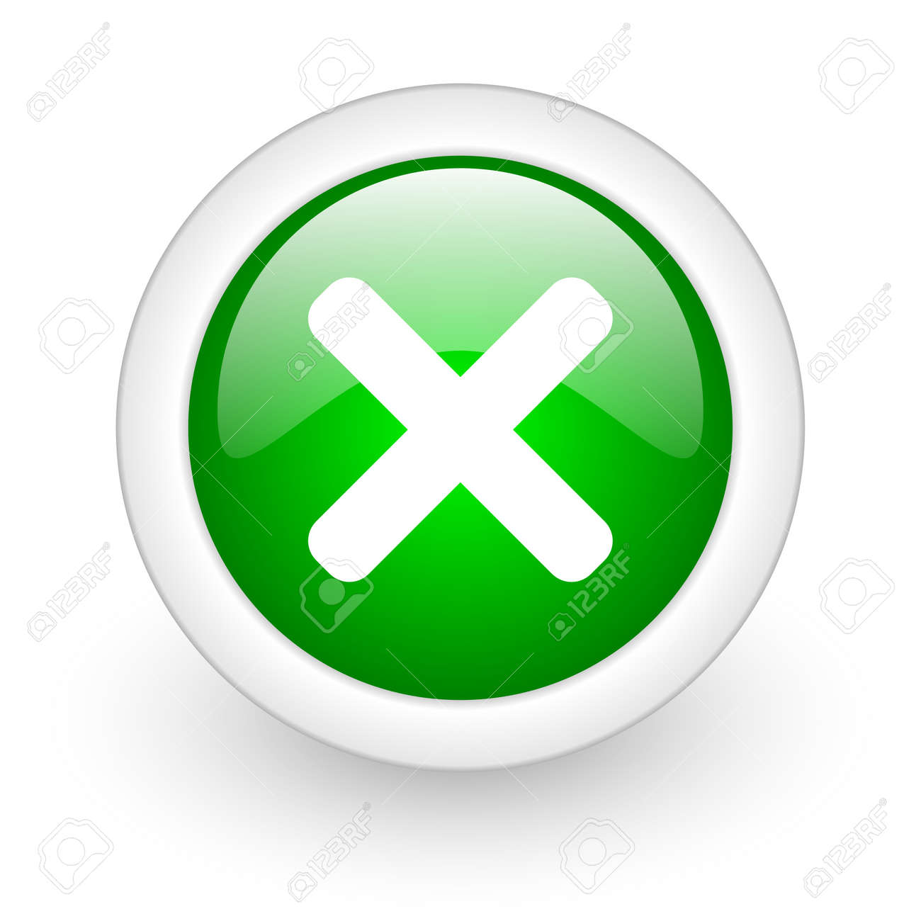 cancel green circle glossy web icon on white background Stock Photo - 17864830