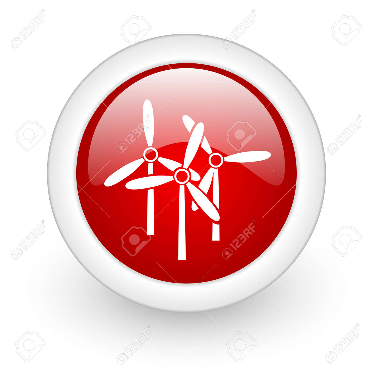 windmill red circle glossy web icon on white background Stock Photo - 17980389