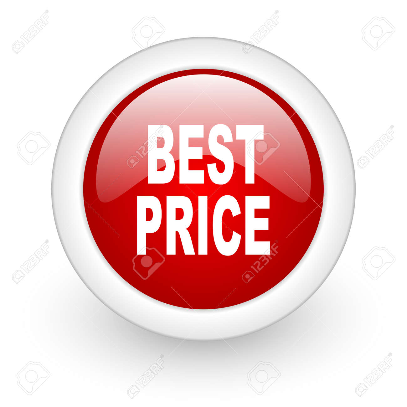 best price red circle glossy web icon on white background Stock Photo - 17979916