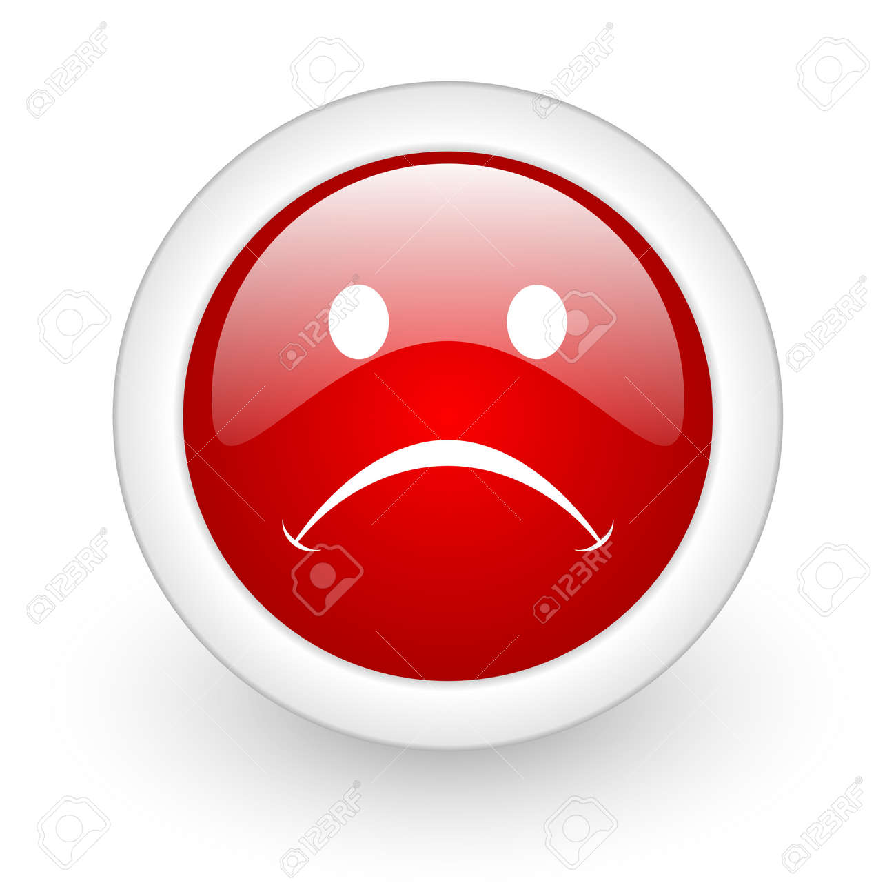 cry red circle glossy web icon on white background Stock Photo - 17977921