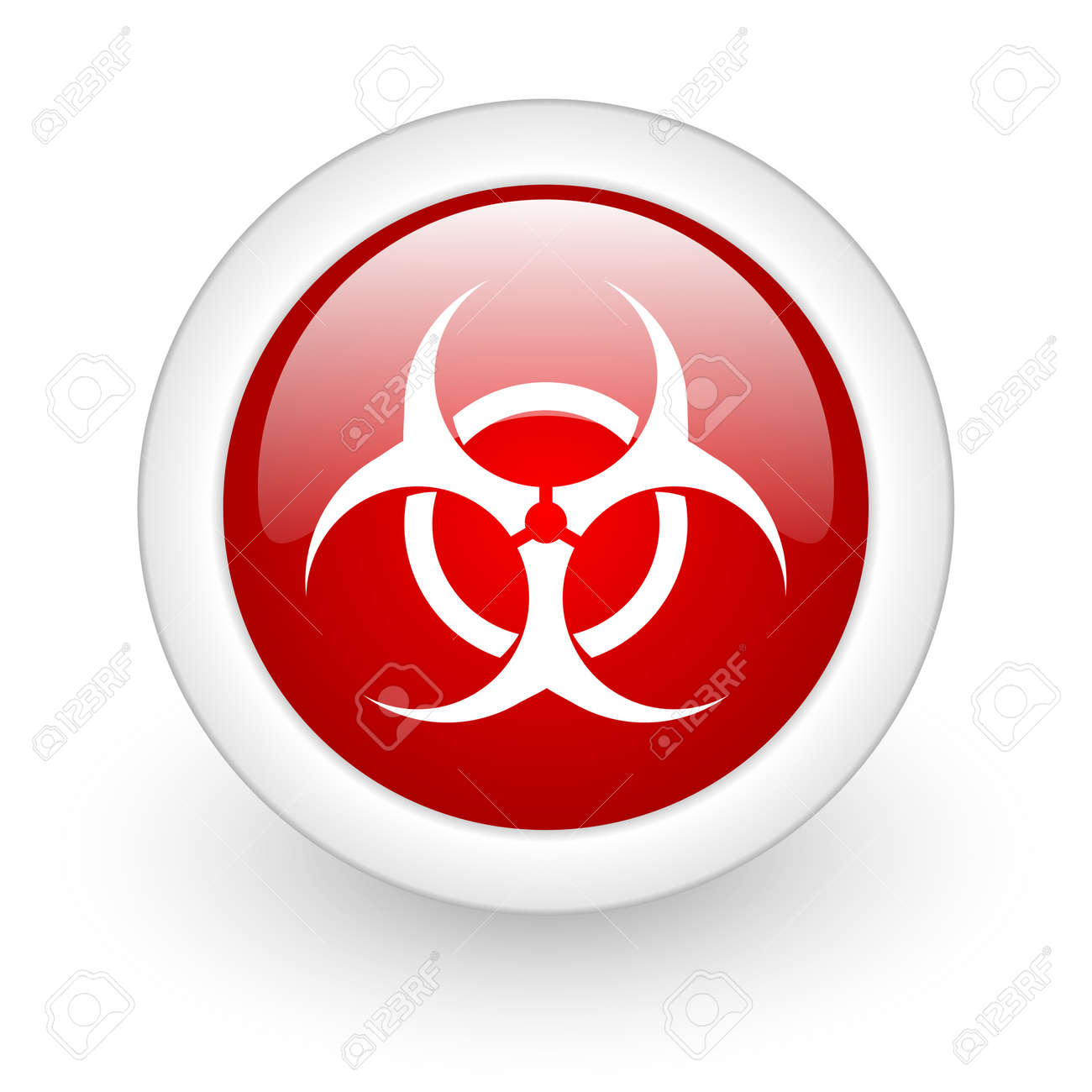 virus red circle glossy web icon on white background Stock Photo - 17980301