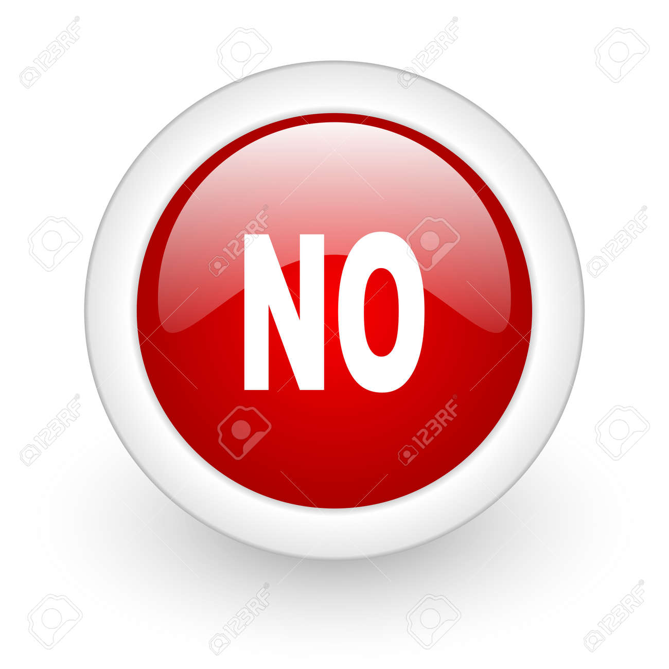 no red circle glossy web icon on white background Stock Photo - 17977747