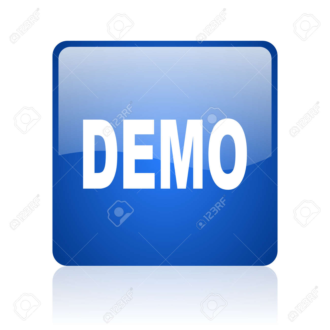demo blue square glossy web icon on white background stock photo