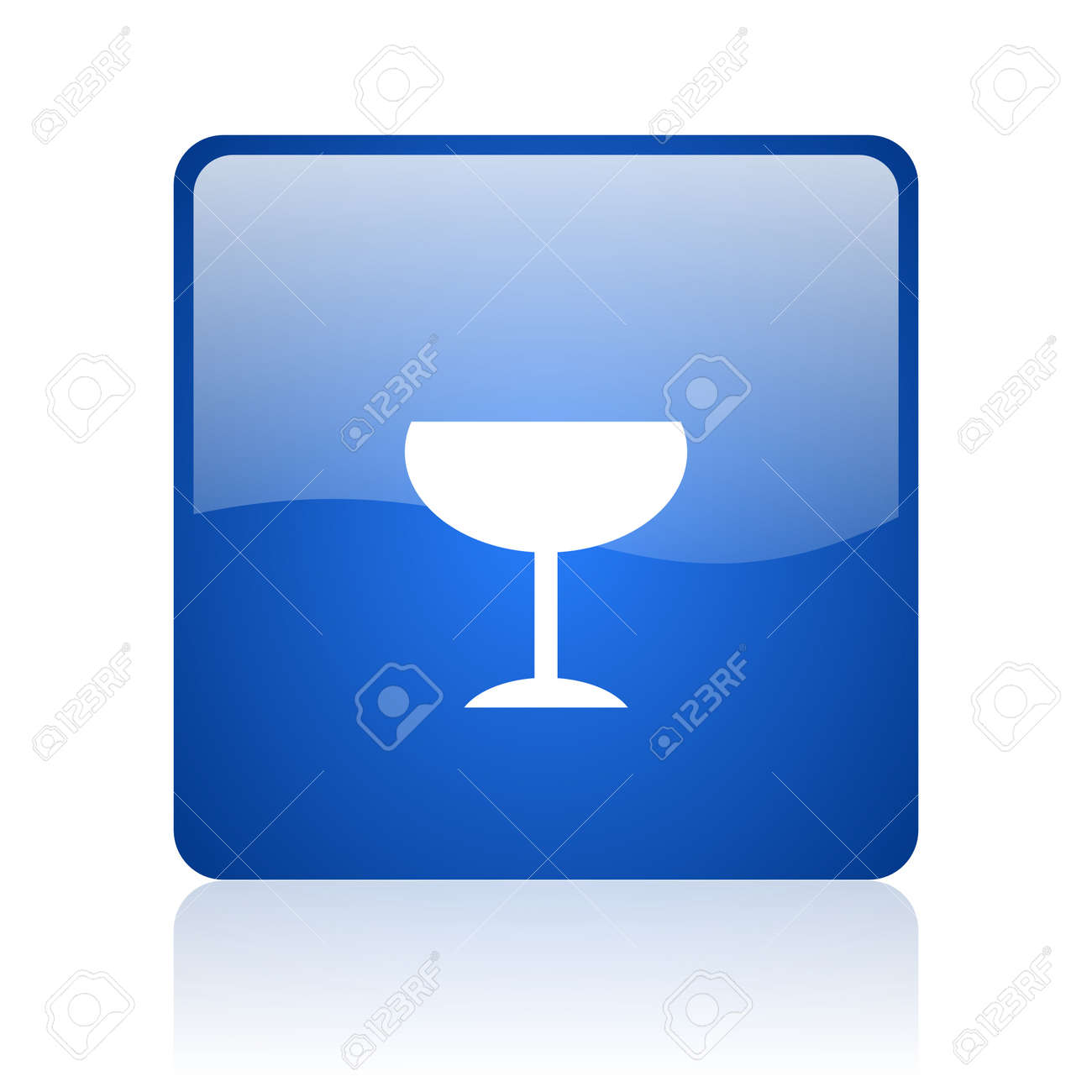 glass blue square glossy web icon on white background Stock Photo - 18037422