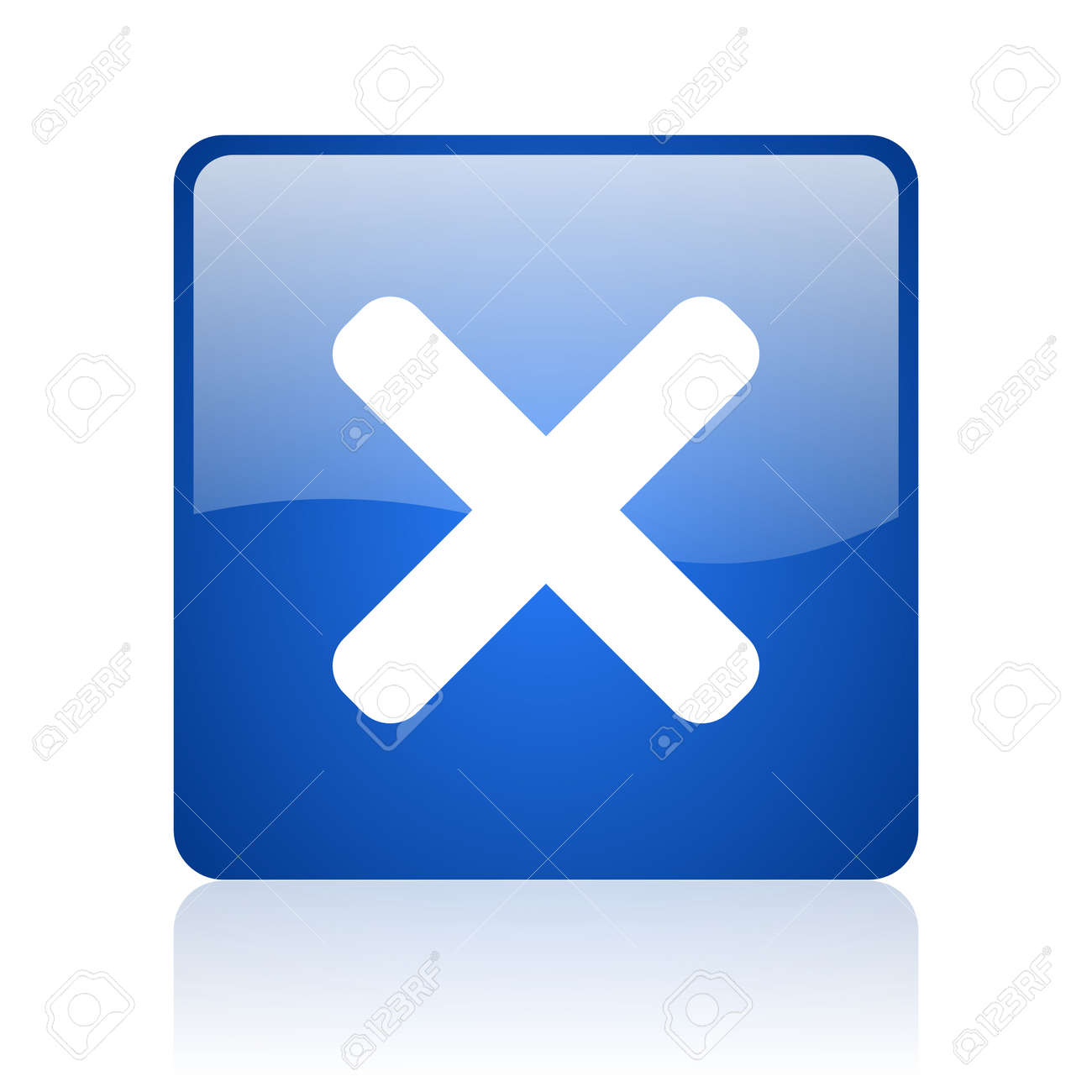 cancel blue square glossy web icon on white background Stock Photo - 18037086