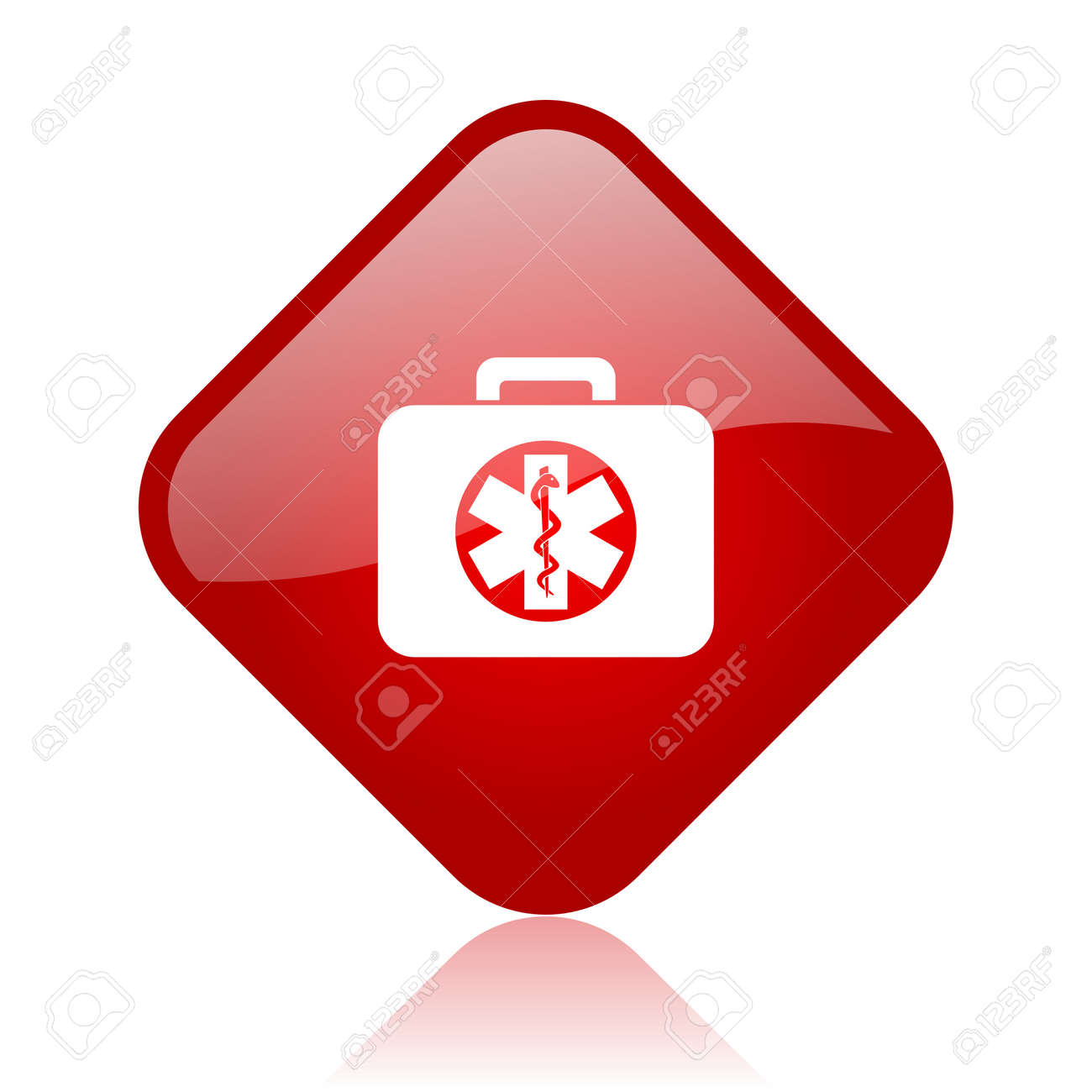 rescue kit red square glossy web icon Stock Photo - 18165583