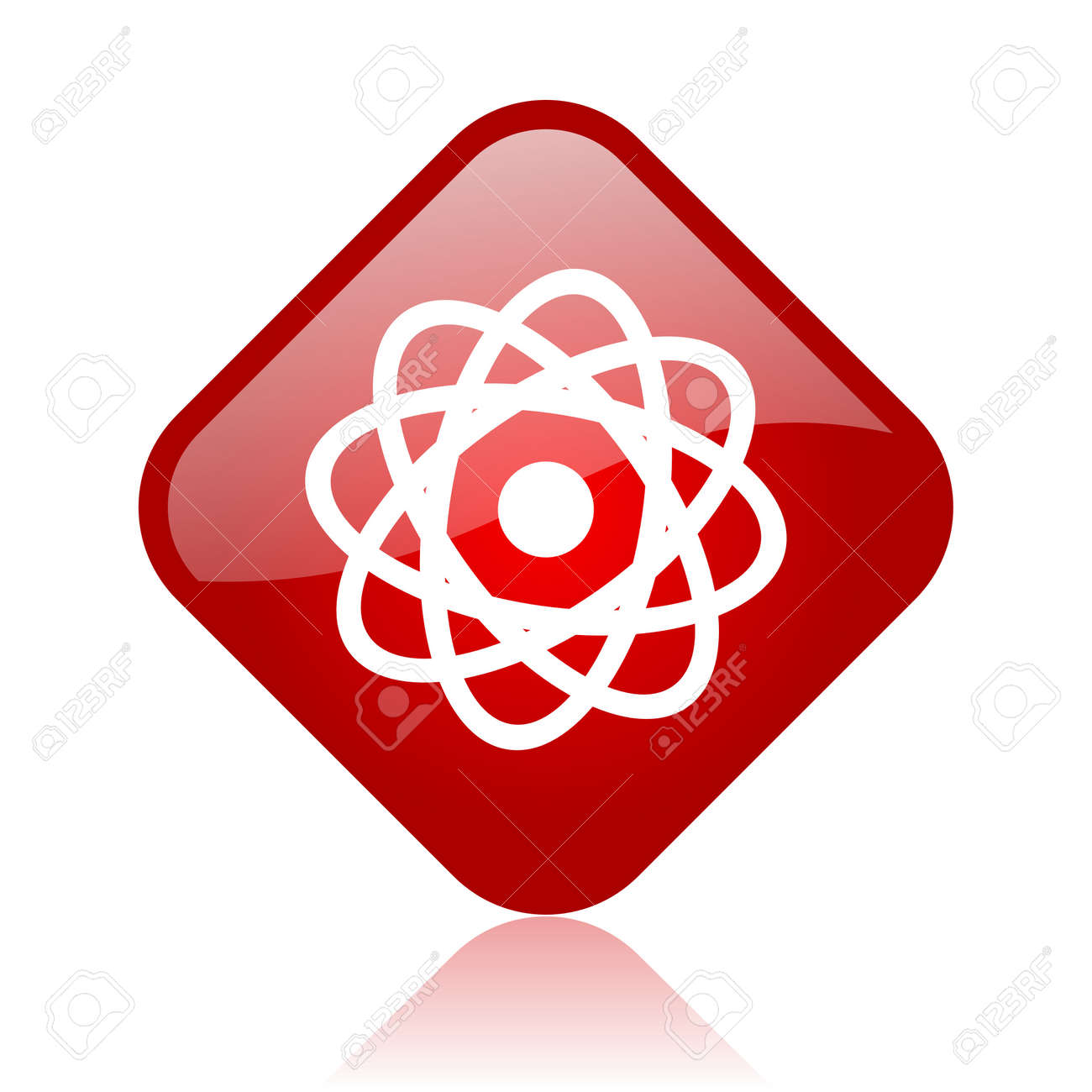 atom red square glossy web icon Stock Photo - 18165926