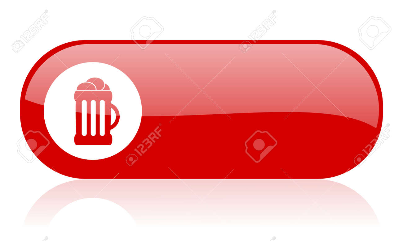 beer red web glossy icon Stock Photo - 18361855