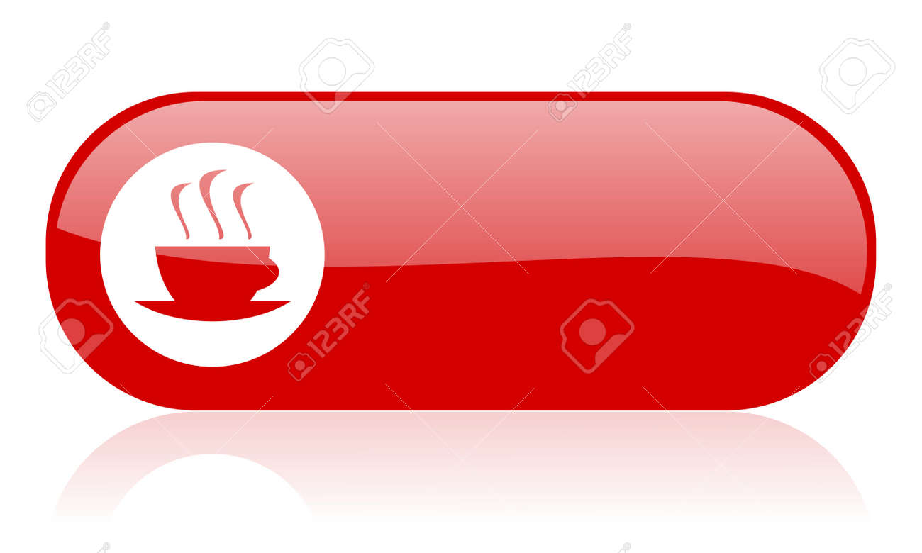 coffee red web glossy icon Stock Photo - 18361782