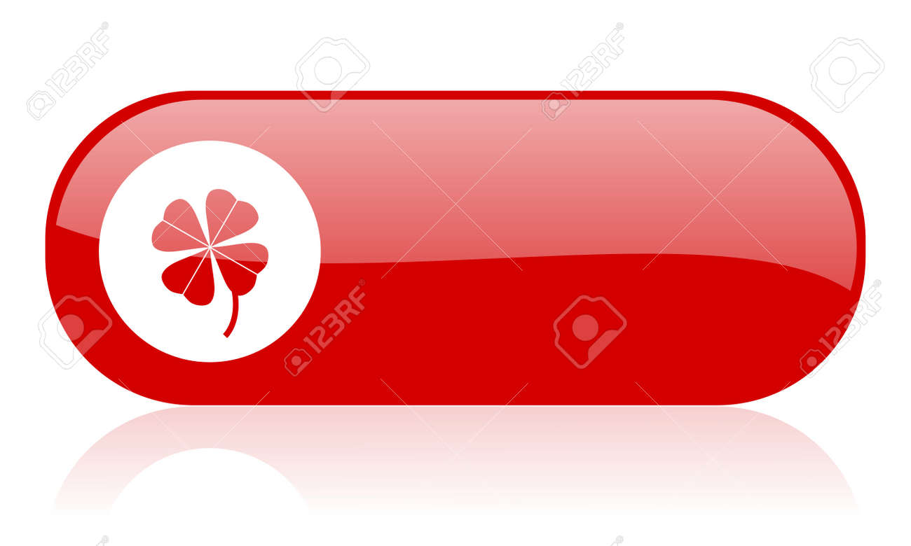 four-leaf clover red web glossy icon Stock Photo - 18361983