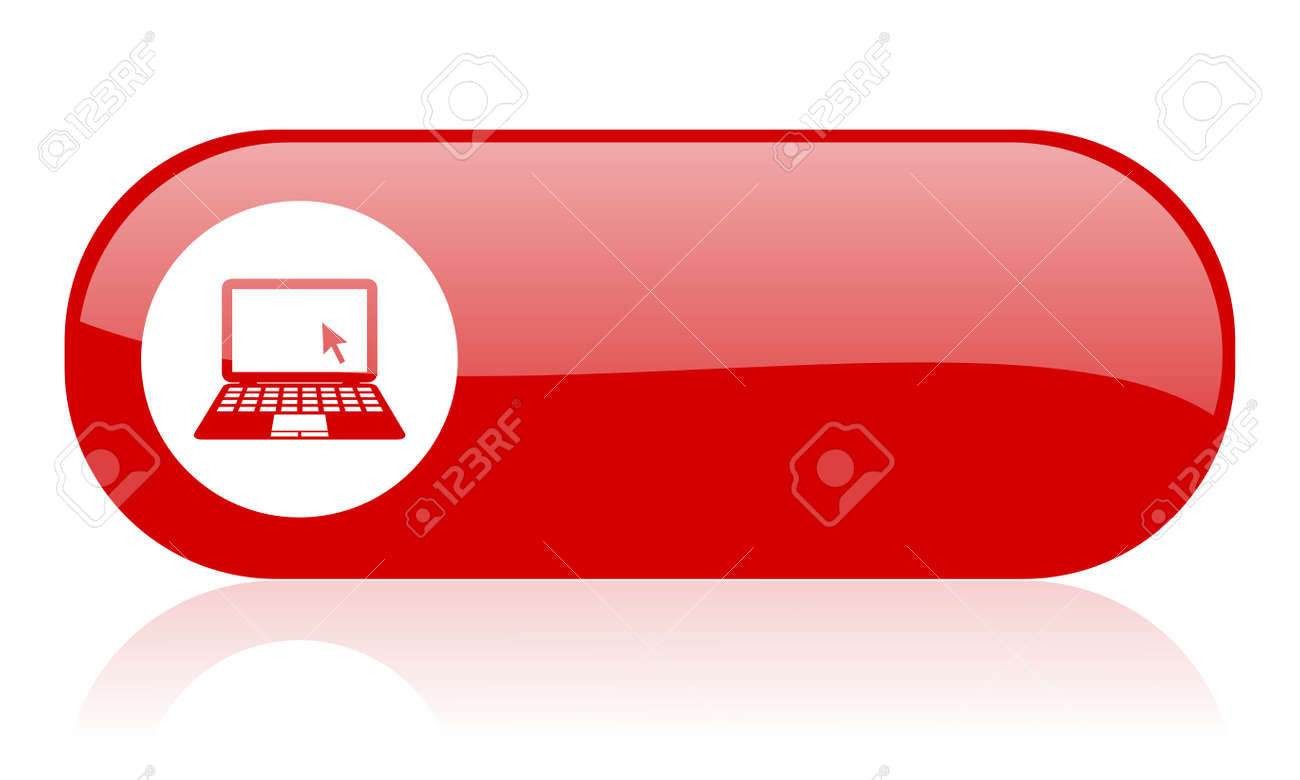 notebook red web glossy icon Stock Photo - 18362009