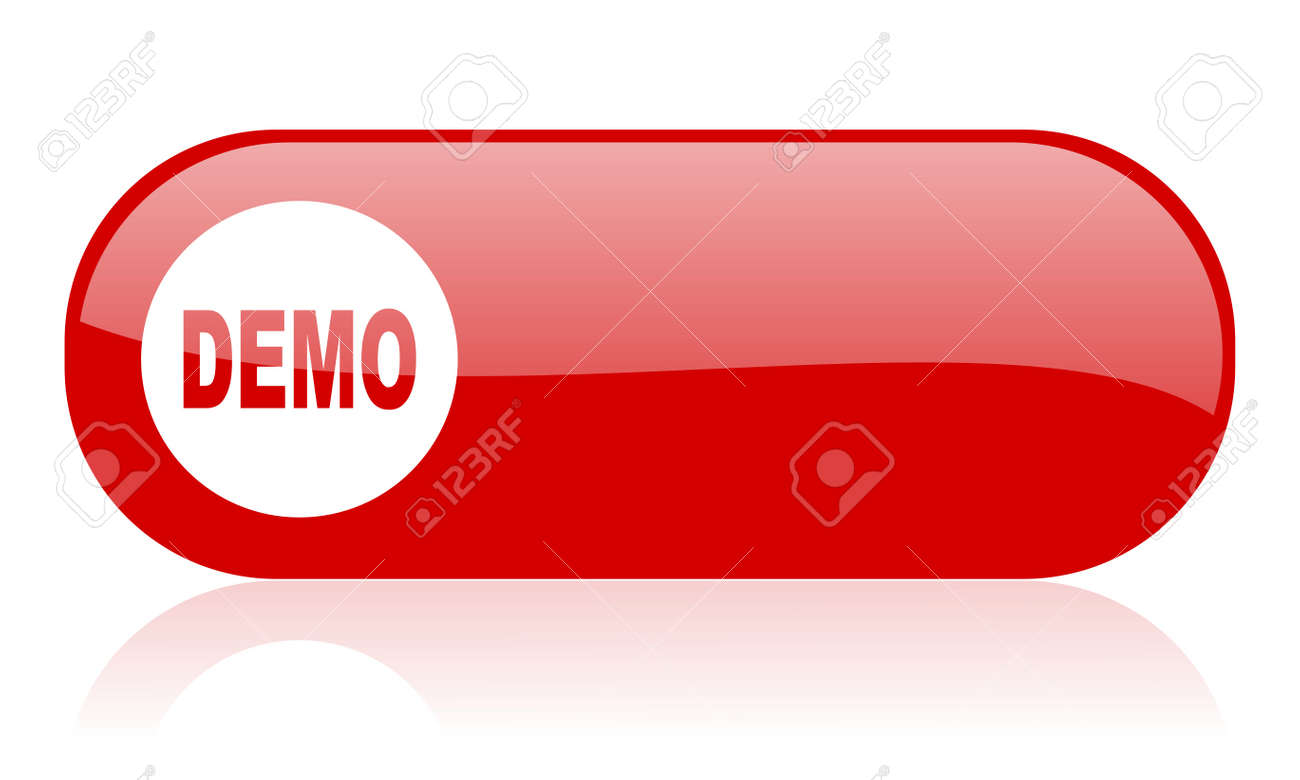 demo red web glossy icon Stock Photo - 18361889