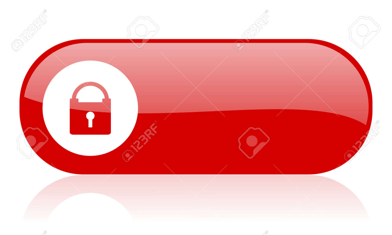 protect red web glossy icon Stock Photo - 18361589