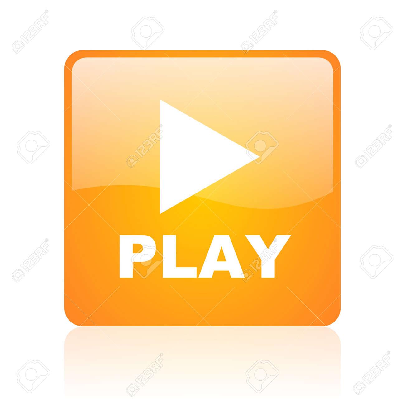 play orange square glossy web icon Stock Photo - 18361025