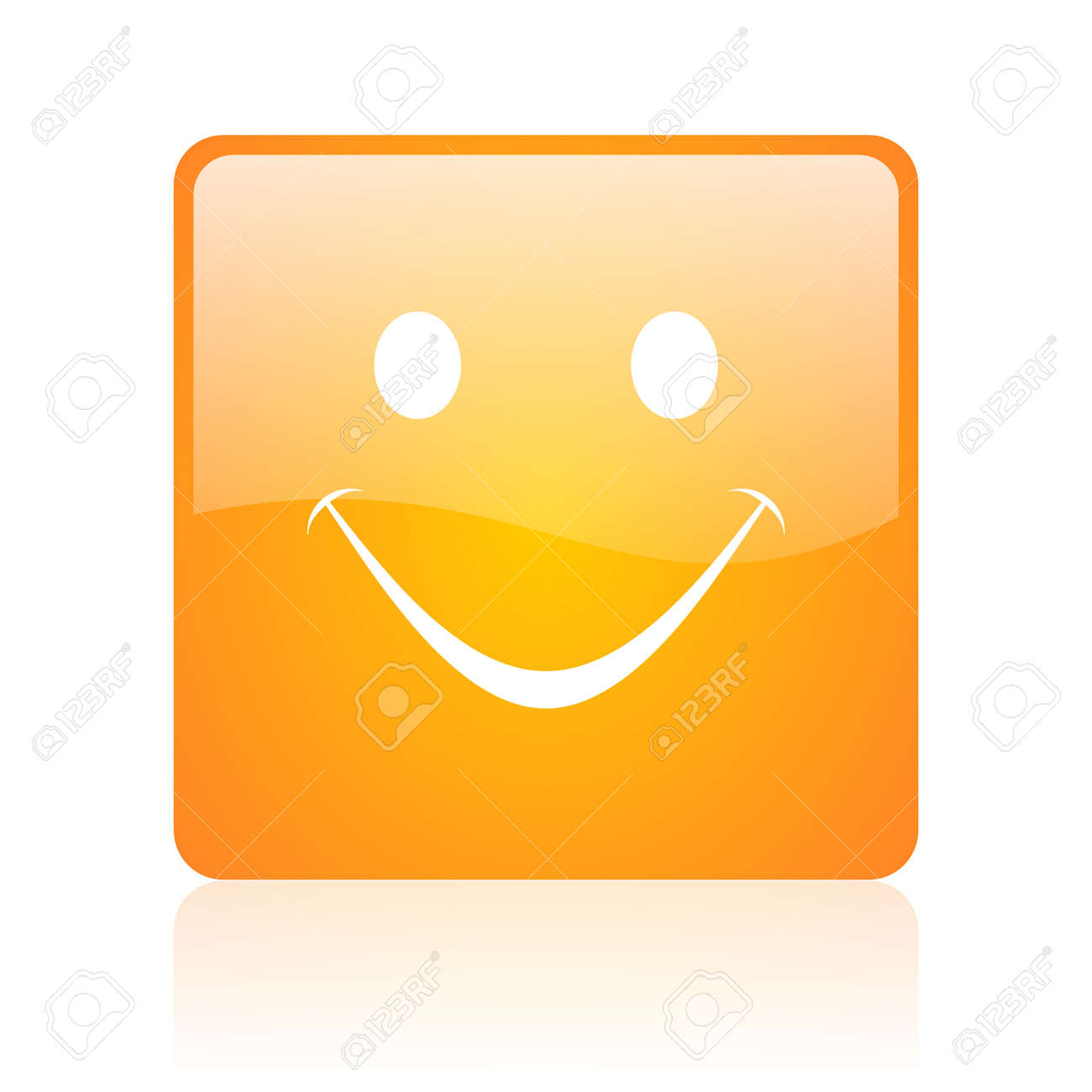 smile orange square glossy web icon Stock Photo - 18361115