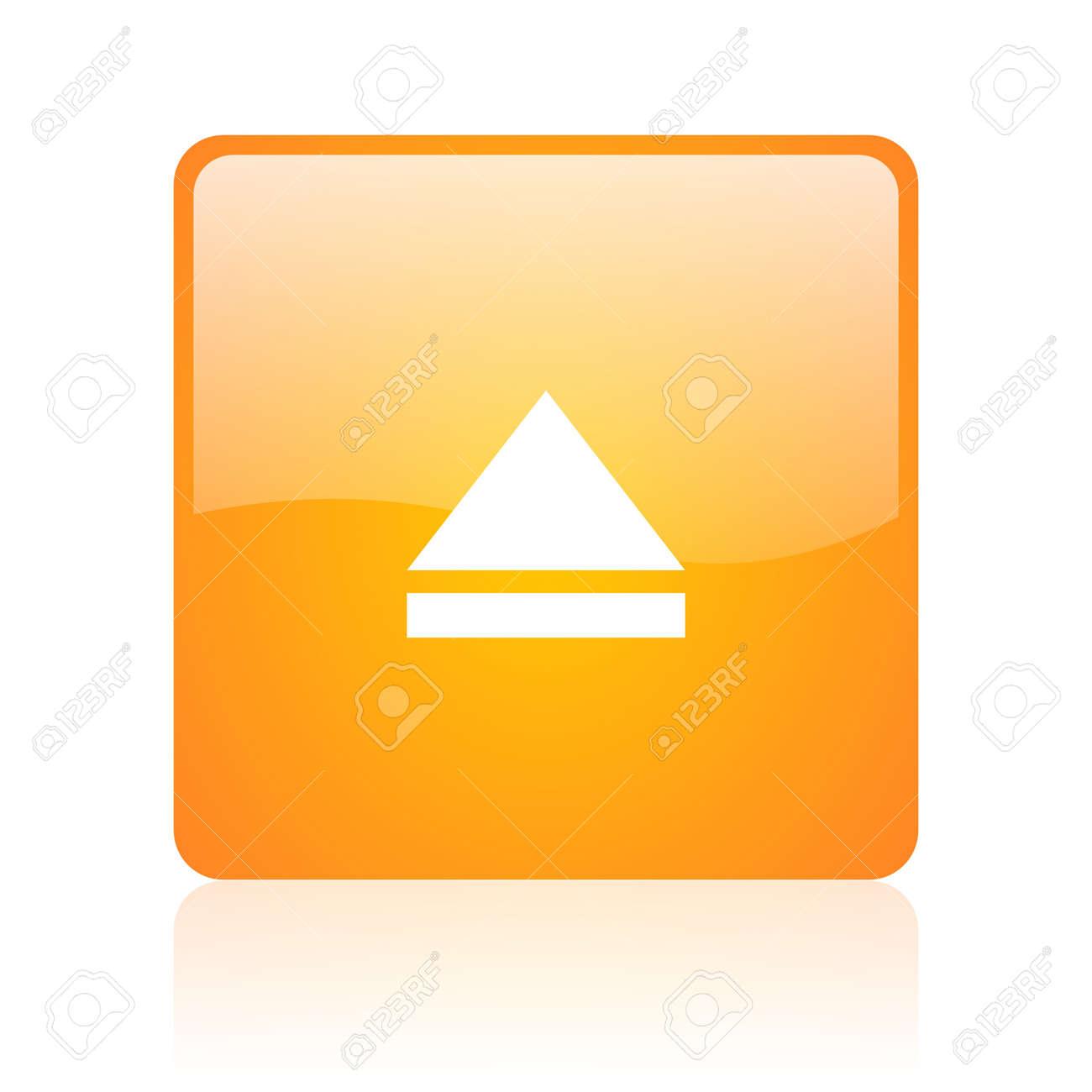 eject orange square glossy web icon Stock Photo - 18360677