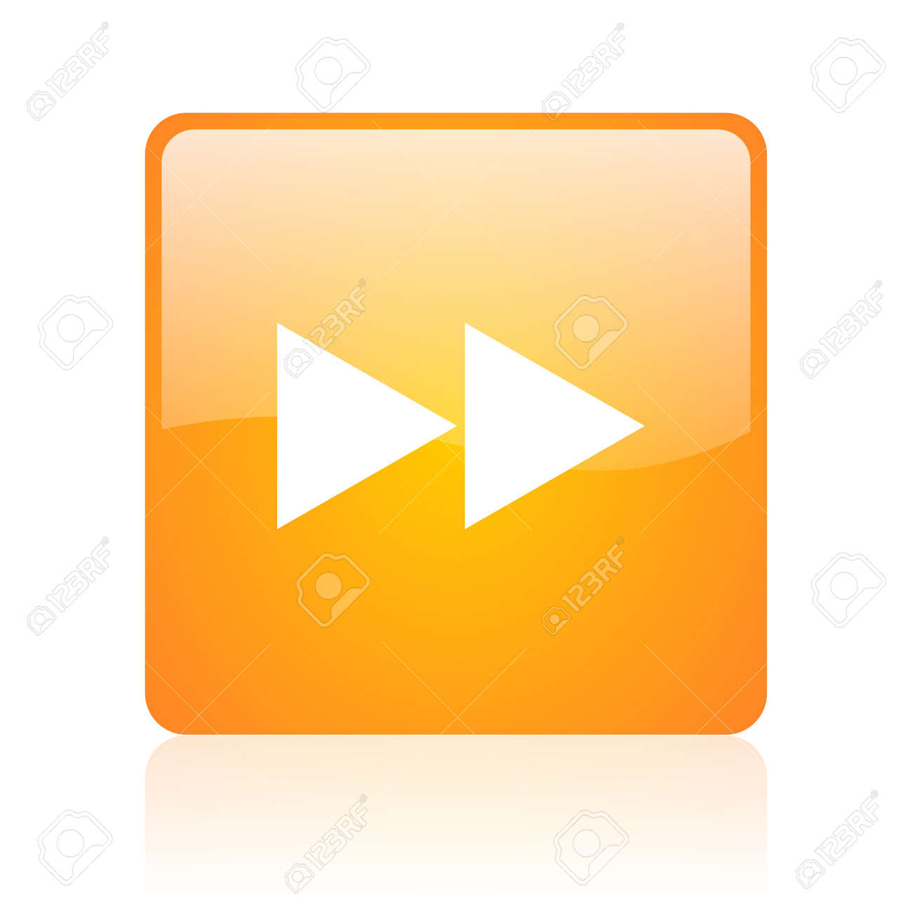 scroll orange square glossy web icon Stock Photo - 18360884