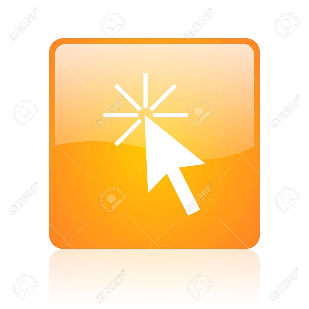 click here orange square glossy web icon Stock Photo - 18361029