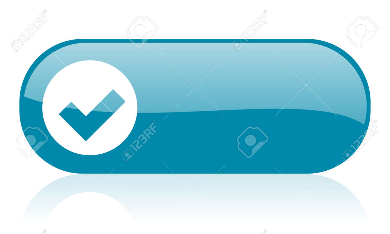 accept blue web glossy icon Stock Photo - 18444210
