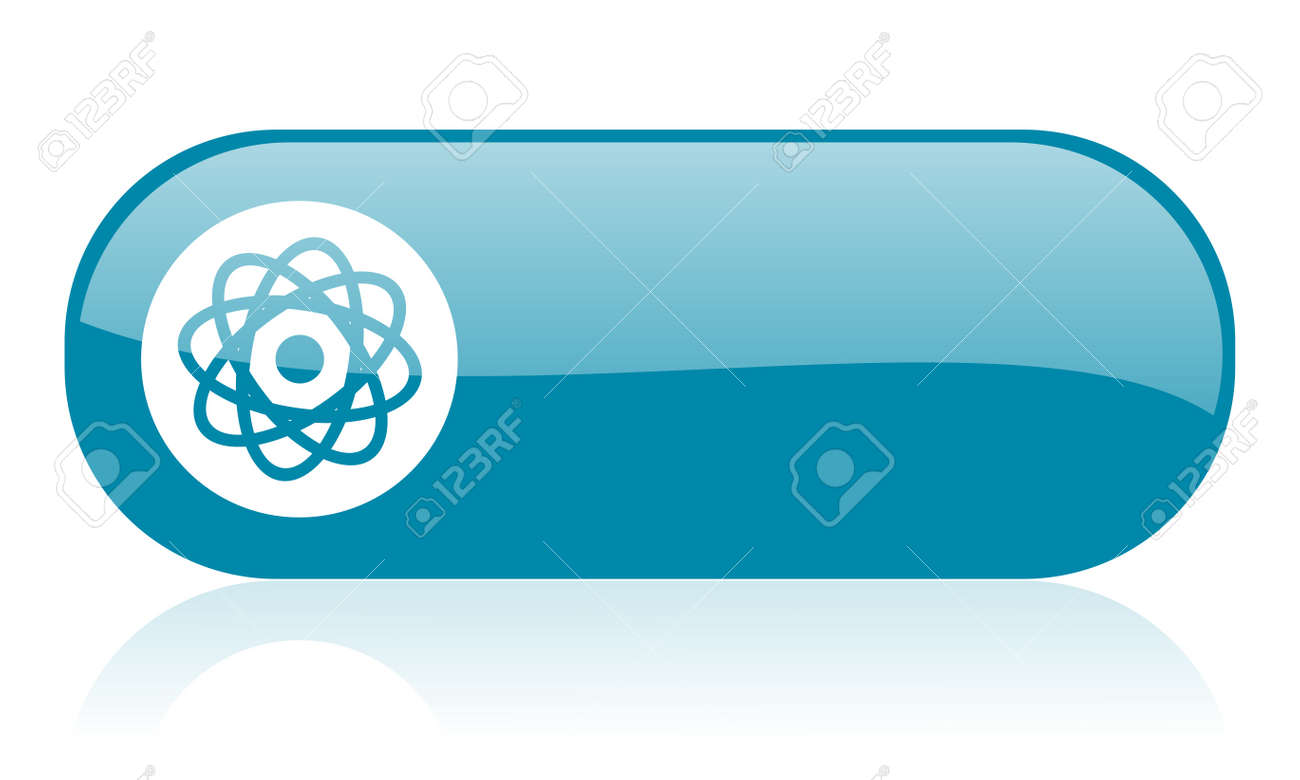 atom blue web glossy icon Stock Photo - 18445351