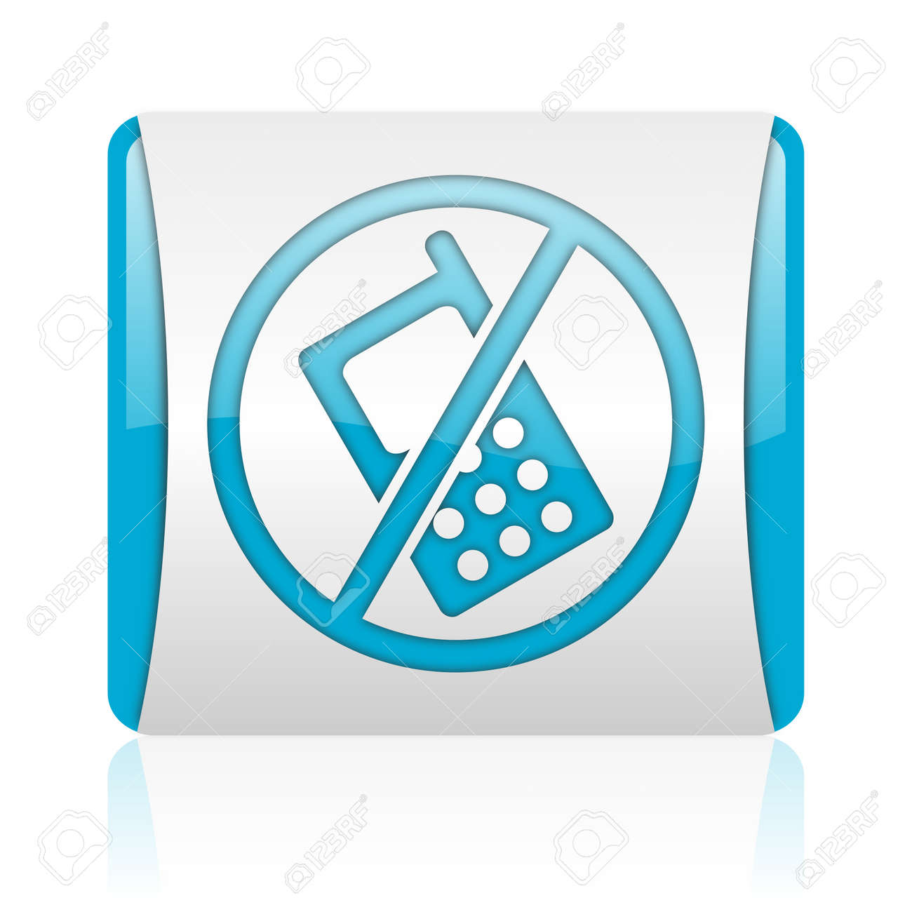no phones blue and white square web glossy icon Stock Photo - 18445774