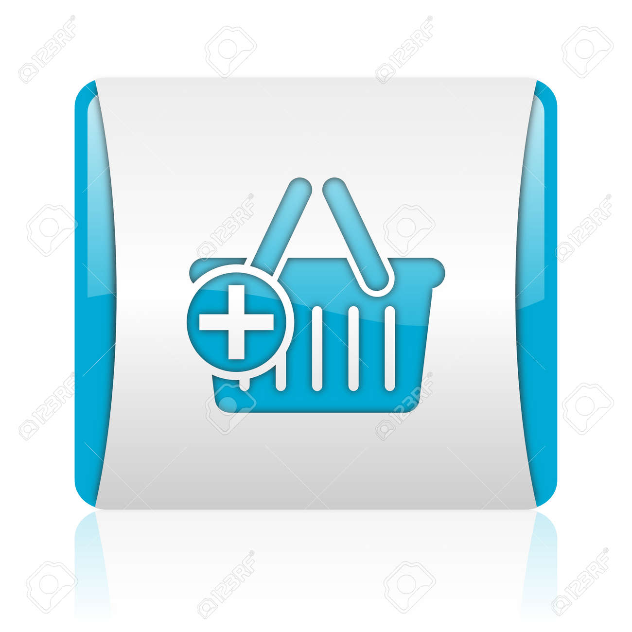 shopping cart blue and white square web glossy icon Stock Photo - 18445556