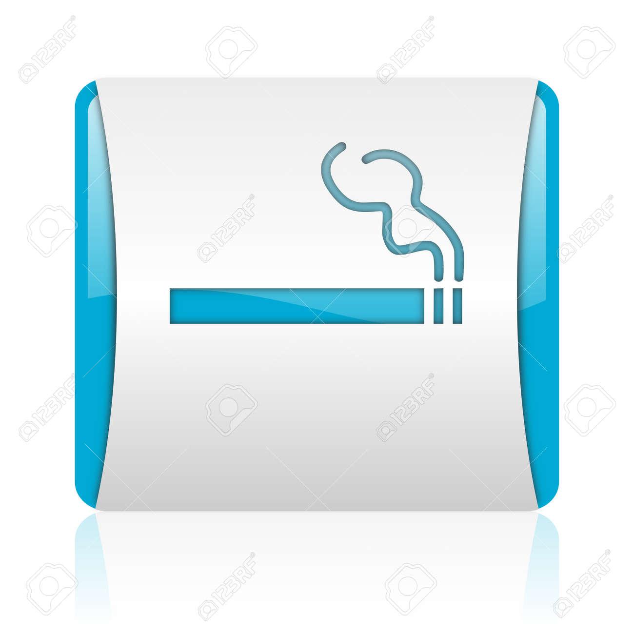smoking blue and white square web glossy icon Stock Photo - 18444218