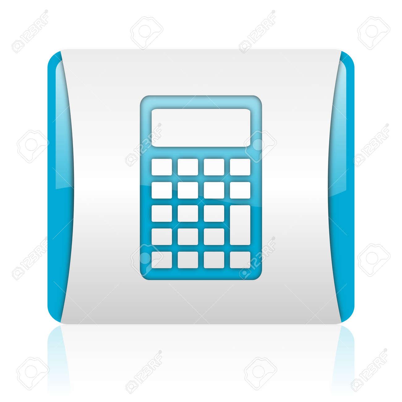 Taschenrechner Blau Und Weiß Square Web Glossy Icon Lizenzfreie