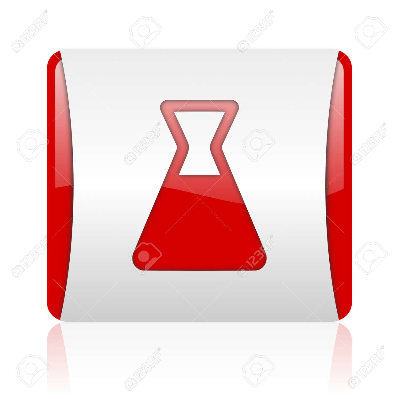 chemistry red and white square web glossy icon Stock Photo - 18475198