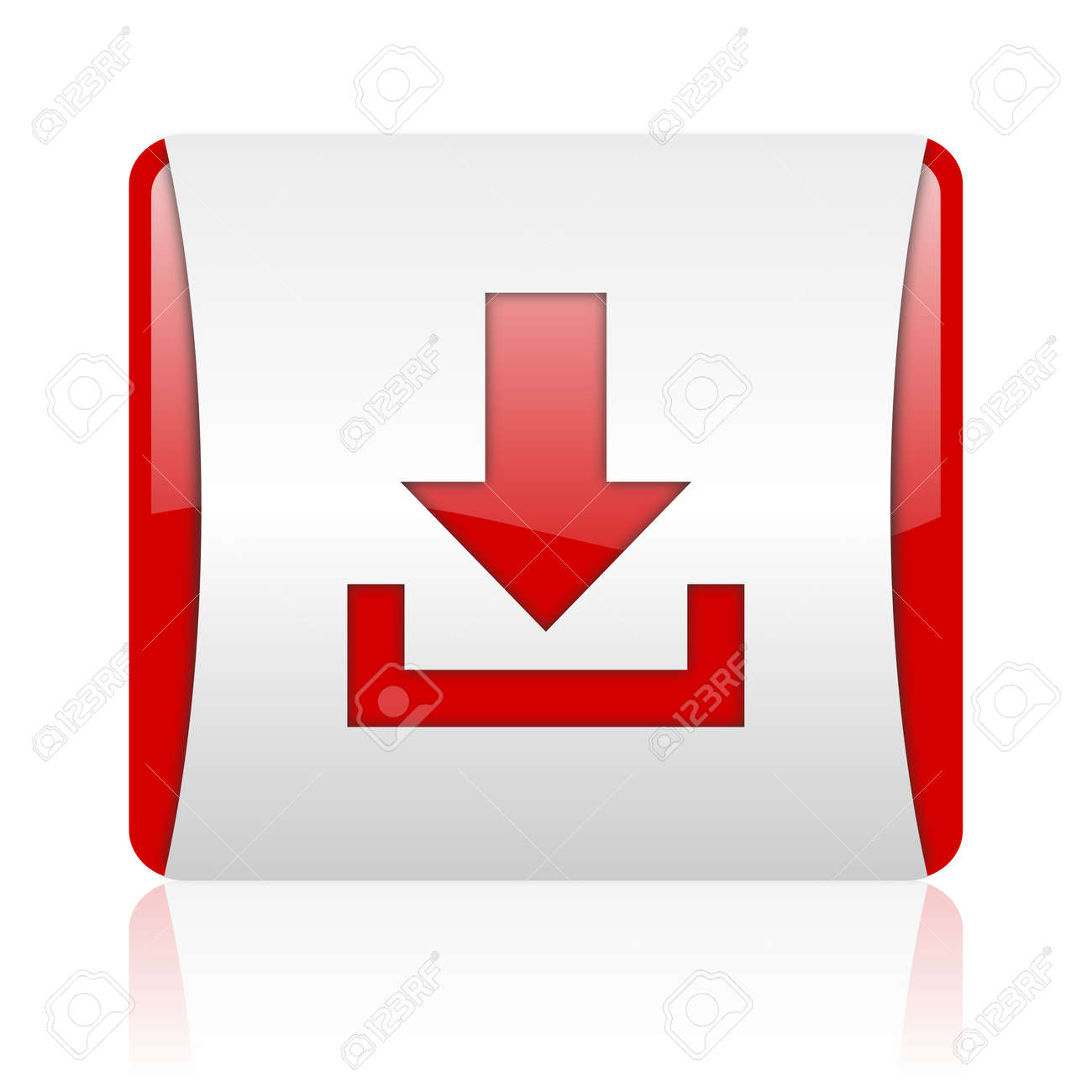 download red and white square web glossy icon Stock Photo - 18475143