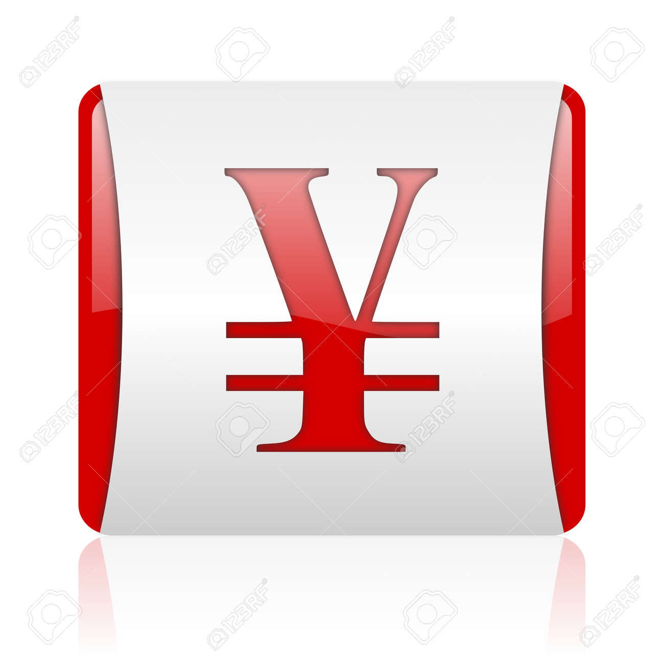 yen red and white square web glossy icon Stock Photo - 18475290