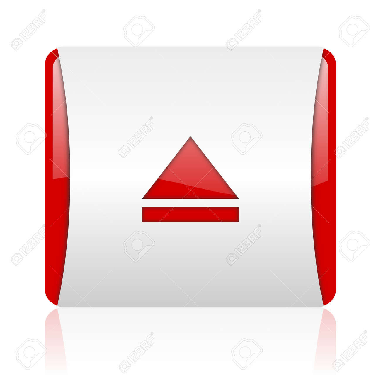 eject red and white square web glossy icon Stock Photo - 18475101