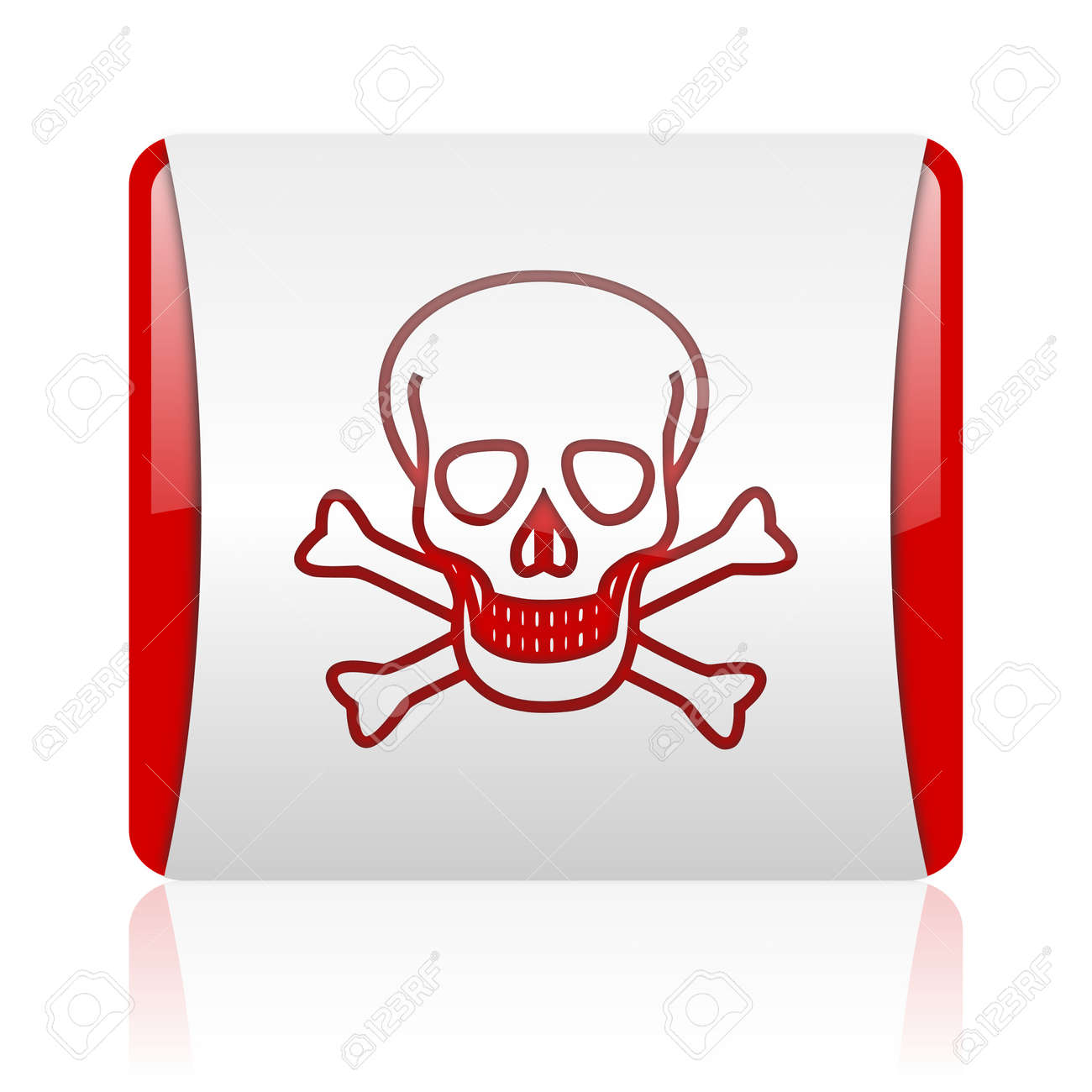 skull red and white square web glossy icon Stock Photo - 18475983