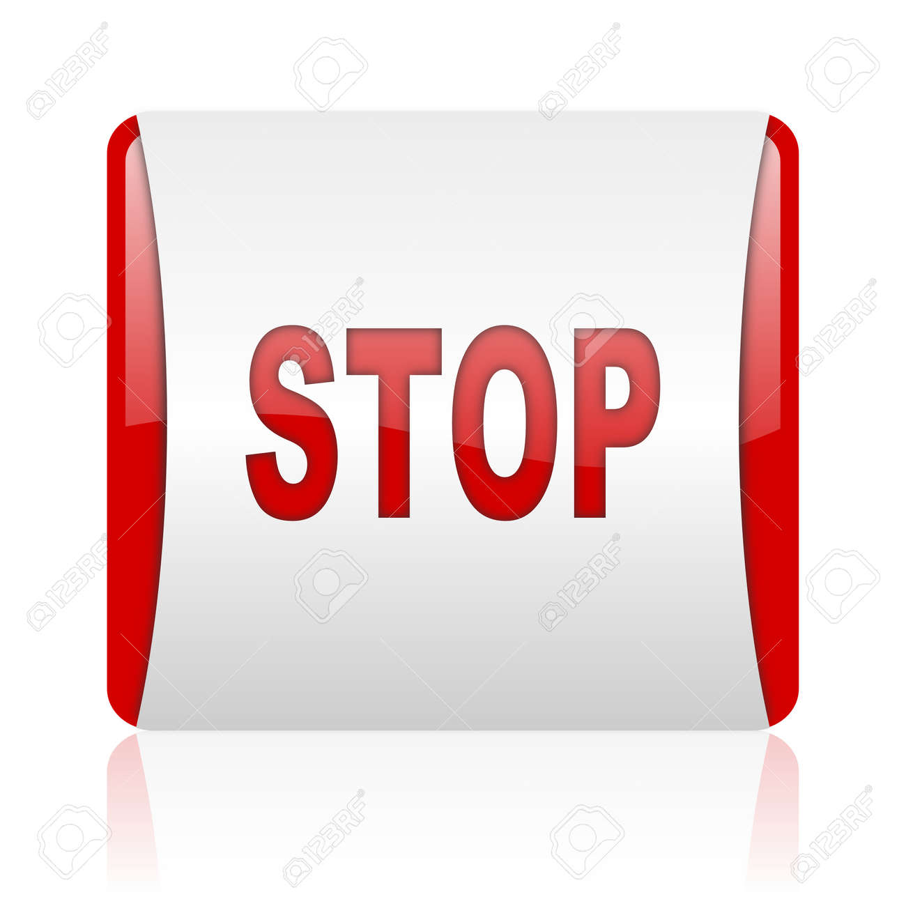 stop red and white square web glossy icon Stock Photo - 18475537
